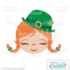 Cute Irish Lass Face SVG File
