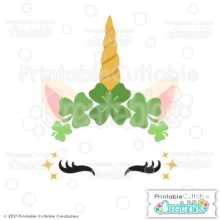 St. Patrick's Day Clover Unicorn Face Free SVG Cut File