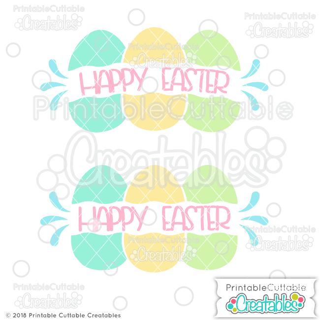 Easter Eggs Split Frame Monogram Free SVG File
