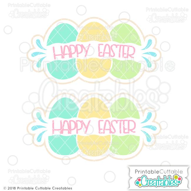 Easter Eggs Split Frame Monogram Free Svg File For Silhouette Cricut
