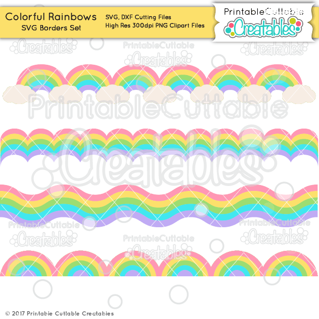Colorful Rainbow Free SVG Borders Set