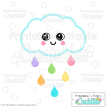 Cute Rain Cloud SVG File