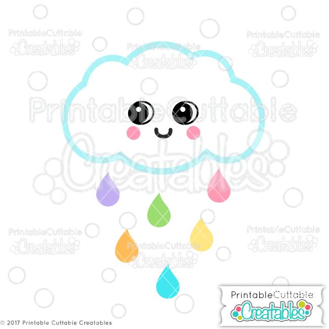 Cute Rain Cloud SVG File