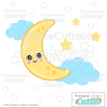 Cute Moon SVG File