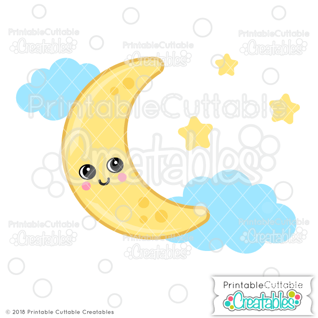 Cute Moon SVG File