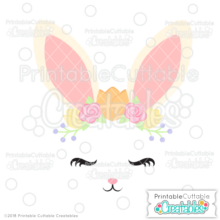 Spring Flowers Bunny Face SVG File