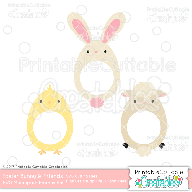 Easter Friends Monogram Frame SVG Set