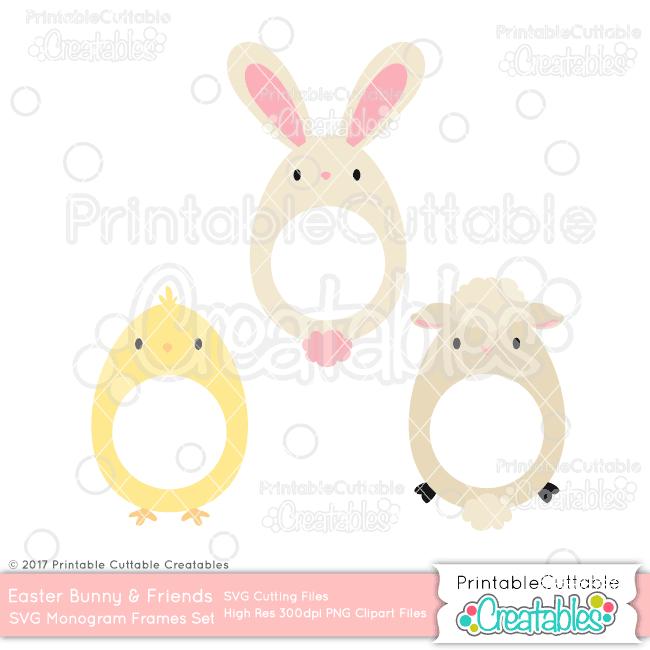 Easter Friends Monogram Frame SVG Set & Clipart Set for Silhouette ...