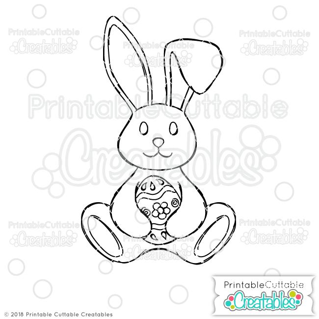 Doodle Easter Bunny Holding Egg SVG Sketch File