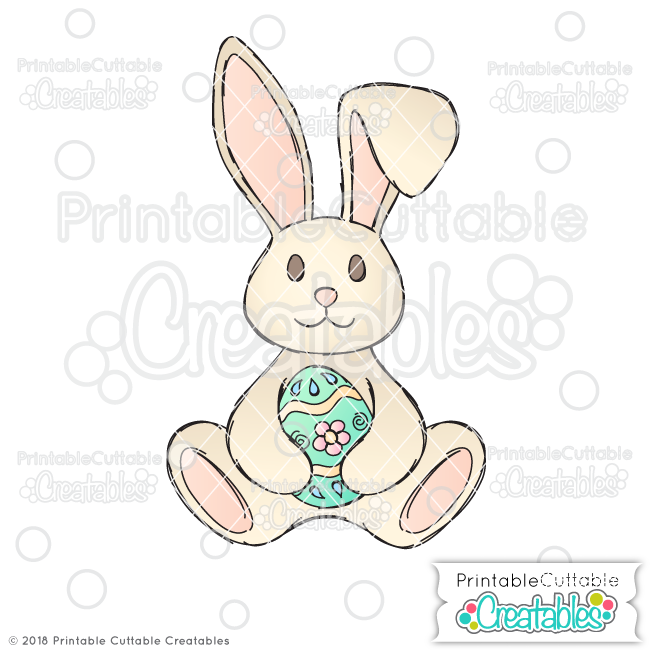 Doodle Easter Bunny Holding Egg SVG Sketch File Digital Stamp