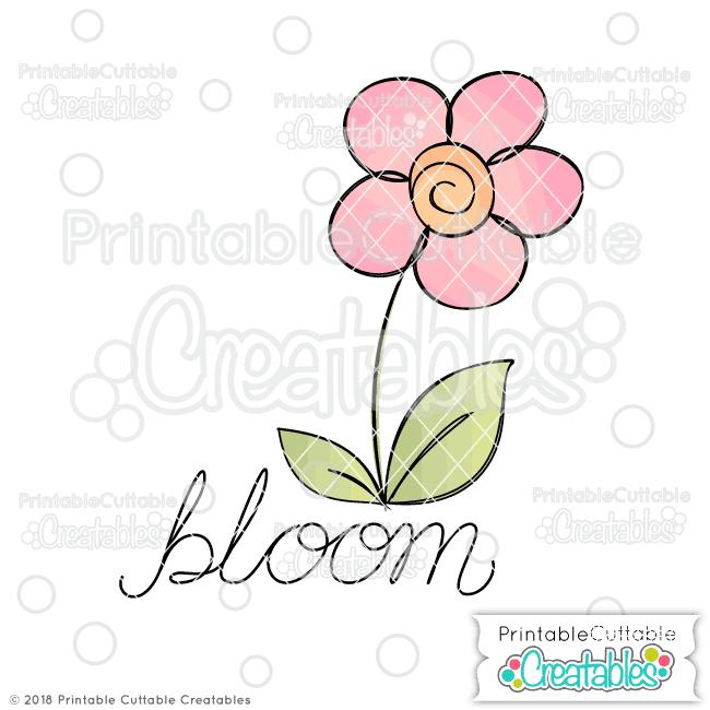 SK 004FB Doodle Bloom Flower Digi Stamp Sketch SVG File Free preview