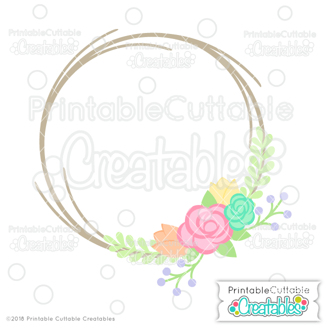 Flower Wreath Monogram Frame SVG File