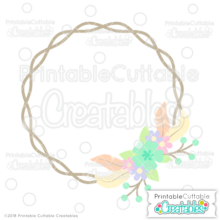 Feather Wreath Monogram Frame SVG File