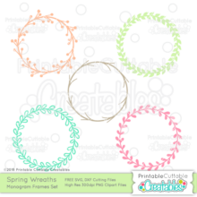Spring Wreath Free Monogram Frame SVG Files