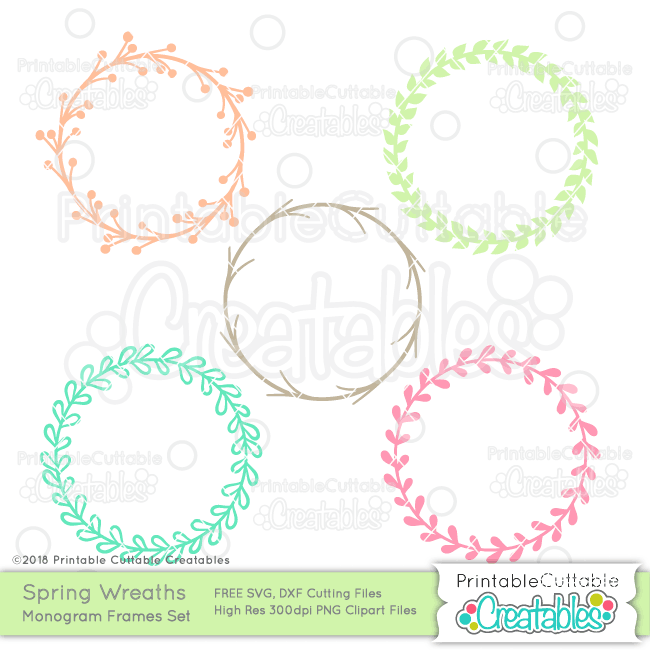 graphic regarding Free Monogram Printable named Spring Wreath Totally free Monogram Body SVG Information for Silhouette