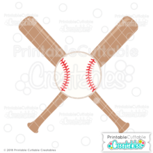 Crossed Baseball Bats & Ball Free SVG File