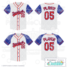 Raglan Baseball Jersey SVG Cut File Set
