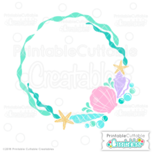 Beach Sea Shells Monogram Frame SVG File