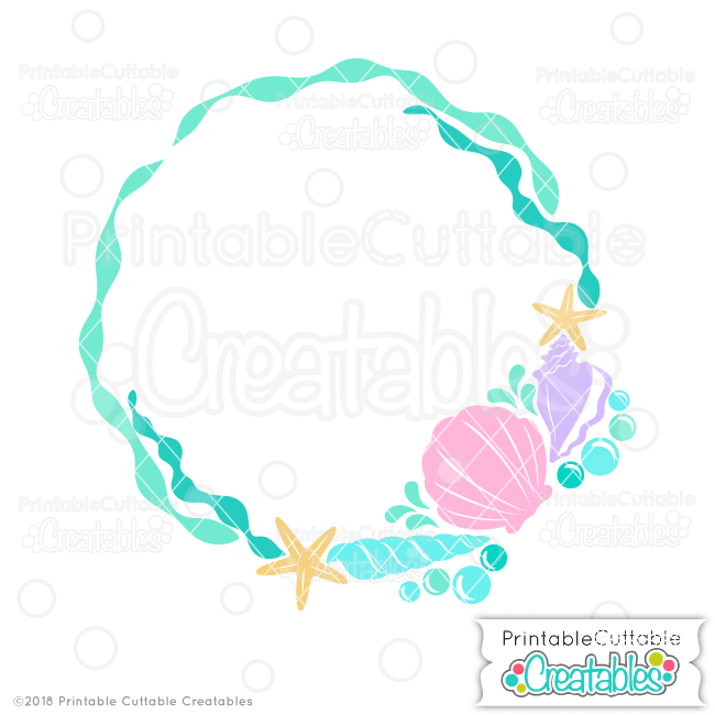 Beach Sea Shells Monogram Frame SVG File for Silhouette, Cricut