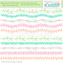 Berries & Branches Free SVG Files Border Set