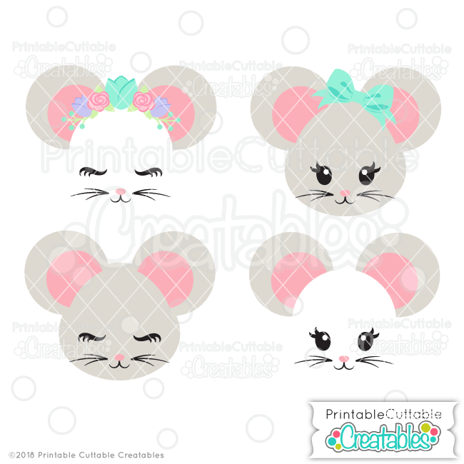 Cute Mouse Face Svg Files Clipart For Cricut Silhouette