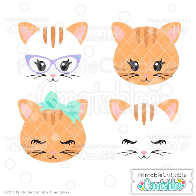 cute cat face svg files clipart for cricut silhouette cutting