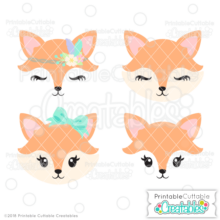 Cute Fox Face SVG Files