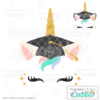 Graduation Cap Unicorn Face Free SVG File