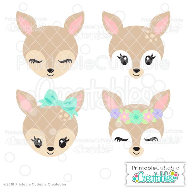 Deer head cute. Face svg files clipart