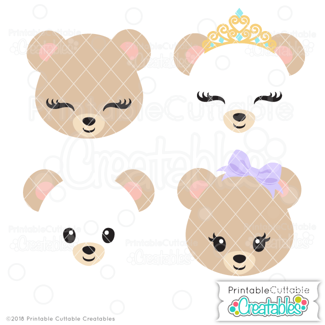 Cute Bear Face SVG Files