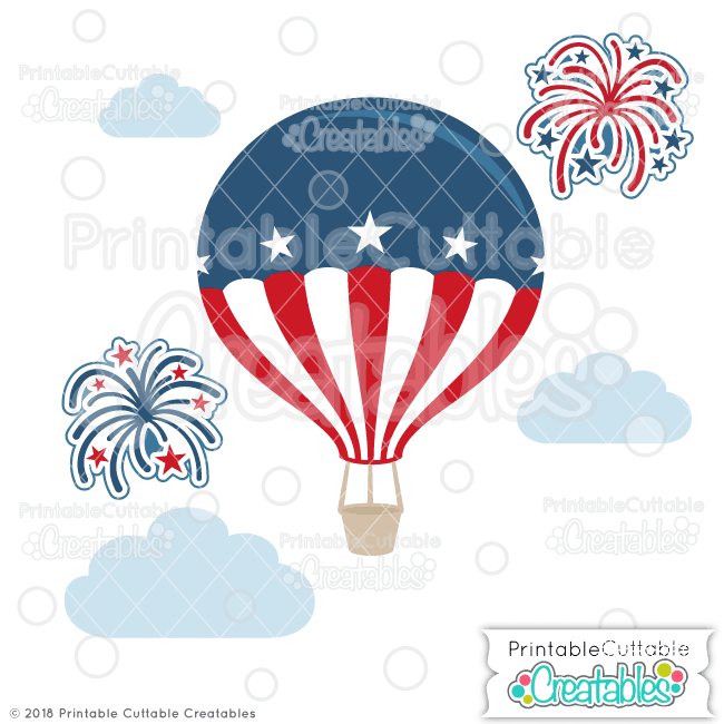 Patriotic Hot Air Balloon SVG File