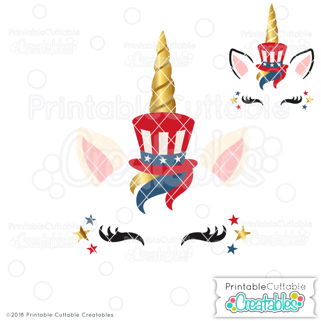 Patriotic Unicorn Face Free SVG File