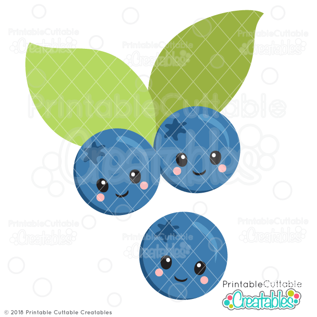 Cute Blueberries Free SVG Files