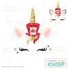 Canadian Patriotic Unicorn Face Free SVG File