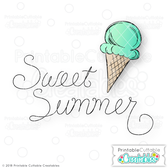 SK 005 Sweet Summer Doodle Ice Cream Cone SVG sketch file preview1