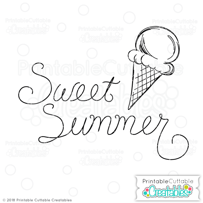 Doodle Sweet Summer Ice Cream Cone SVG Sketch File