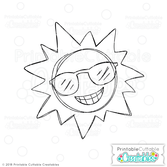 picture about Have a Cool Summer Printable named Doodle Amazing Summertime Sunlight No cost SVG Sketch Record for Silhouette