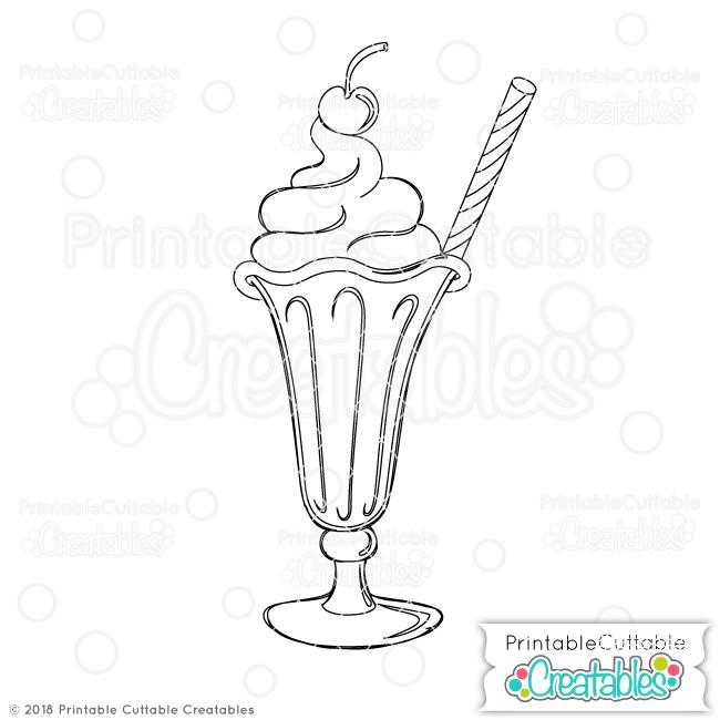 Doodle Milkshake SVG Sketch File