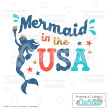 Mermaid in the USA SVG File