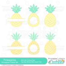 Whole Split Circle Pineapple SVG Monogram Frame Set