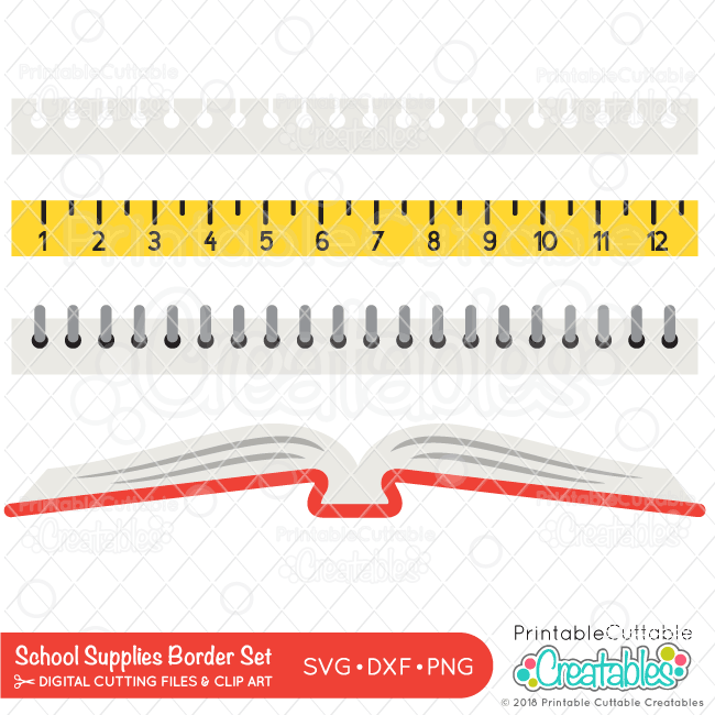 School Supplies Free SVG Borders