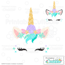 Mermaid Unicorn Face Free SVG File