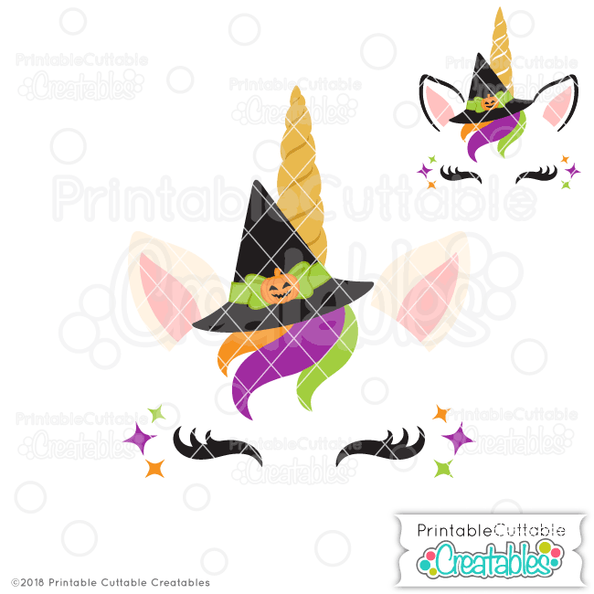 Halloween Witch Unicorn Face Free SVG File