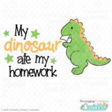 My dinosaur Ate My Homework SVG File
