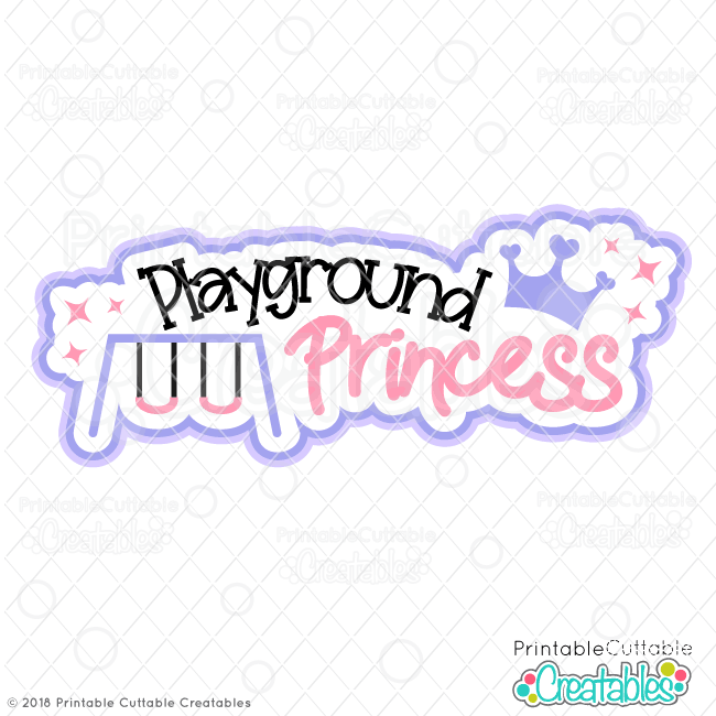 T089FB Playground Princess Free SVG Scrapbook title preview1