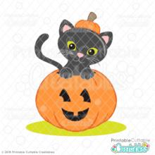 Halloween Cat in Pumpkin SVG File