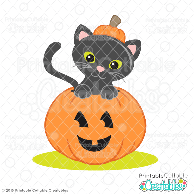 Halloween Cat in Pumpkin SVG File