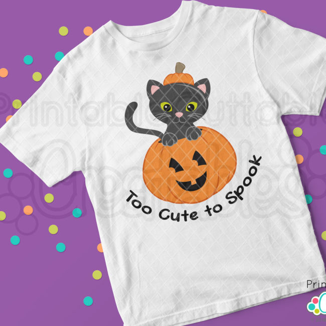 Cute Cat in Pumpkin SVG File