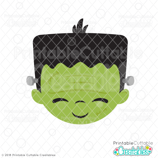 Cute Frankenstein Face SVG File