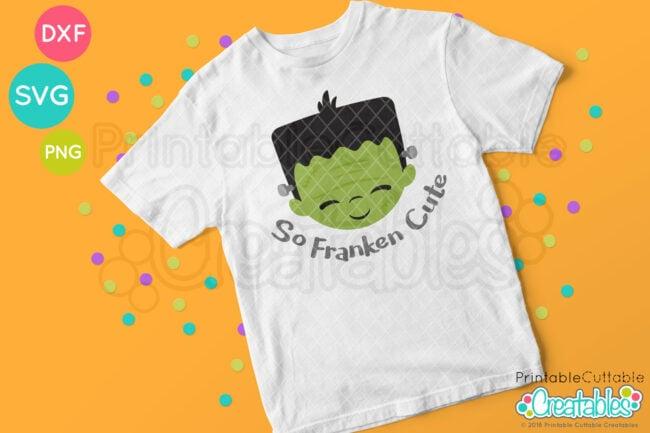 E407 Cute Frankenstein Face SVG file tshirt design